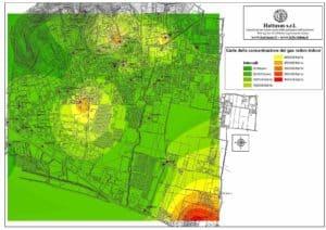 Hattusas - mappatura rischio radon - carta della concentrazione del gas radon indoor