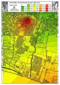 Hattusas - mappatura rischio radon - carta della concentrazione del gas radon nel terreno - soil radon